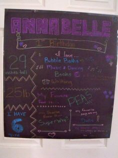 Annie's 1st birthday poster. I didn't do it on a chalkboard cause I wanted it to last for a few parties. I used poster markers on bristol board. Love it.