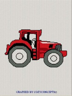 Diy Crafts - Red Tractor Afghan Crochet Pattern Graph Knit Cross Stitch too Afghan Crochet Patterns, Crochet Chart, Crochet Basics, Knitting Patterns, Red Tractor, Tractors, Cross Stitch Charts, Cross Stitch Patterns, Fair Isle Pattern