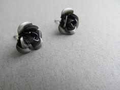 Charcoal+Rose+Stud+Earrings+by+IrisJane+on+Etsy,+$5.00