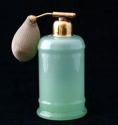 Antique French Green Opaline Glass Refillable Perfume Bottle Atomizer Vintage | eBay