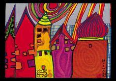 Friedensreich Hundertwasser - Wartende Häuser - jetzt bestellen auf kunst-fuer-alle.de