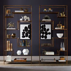 Mansfield Etagere | The Mansfield Etagere has a long and lean silhouette that works perfectly to show off a collection of books or decorative objects.The abstract geometric frame in antique brass hold egomise mirrored shelves.