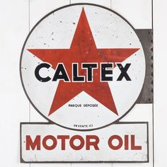 Rare, early, double sided Caltex Enamel Sign. Enamel, Illustrations, Signs, History, Antiques, Antiquities, Shop Signs, Sign, Enamels