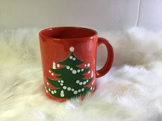 Vintage Waechtersbach West Germany Christmas Tree Coffee Mug Cup Red  | eBay