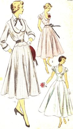 Advance 5588; ca. 1950; Dress features a dramatic U-neck collar, scallop details at the waistline, and gently flared gored skirt. Version 1 features a collared dickey with bow trim and long set-in sleeves with French cuffs. Purchased belt finishes the look. Version 2 features puff sleeves and ribbon belt tied at the waist. Version 3 has no belt.