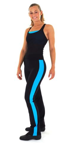 Sporttop with Bra-top and Jazzpants with Stripe in Black/Azure Supplex - PIXIE.NL
