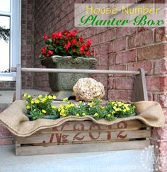House Number Planter Box (with burlap inside as lining for flower pots)