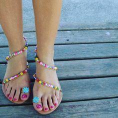 "Boho Sandals, Greek Sandals, Leather Sandals, Pom Pom Sandals, Daisy Sandals, Boho Chic Sandals, Colorful Sandals, ""Candy Lips"""