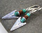 Silver turquoise and jasper arrow earrings