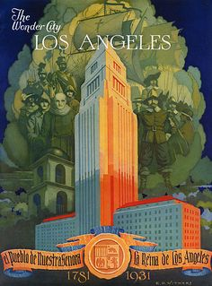 Vintage travel poster, Los Angeles, California