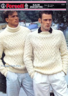 Aran Fishermens Knit 10ply  Sweater  Sizes: 38 to 44ins - Forsell1202 PDF of Vintage Knitting Patterns - Instant Download von 2VintageScot auf Etsy https://www.etsy.com/de/listing/154522789/aran-fishermens-knit-10ply-sweater-sizes