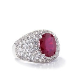 A sumptuous ring from the Annabella Collection, made of Sterling Silver featuring 5.16cts of amazing Ruby with White Topaz.  Gemporia.com