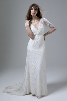 Josephine wrap front full Lace Wedding Dress with a low V back by Halfpenny…