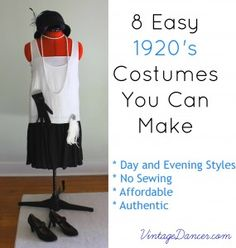 10 easy costumes you can make. DIY a flapper dress, gangster outfit, casual clothes and day or evening gown with clothes you already own. Flapper Party, 1920s Party, Great Gatsby Party, 1920s Flapper, Prohibition Party, Speakeasy Party, Roaring 20s Party, Roaring Twenties, Roaring 20s Fashion