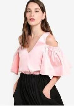 71a5c9efc0e864 Lost Ink Sateen Pink Cold Shoulder Top UK 12 RRP 37.00 RE078 HH 02  fashion   clothing  shoes  accessories  womensclothing  tops (ebay link)