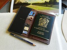Items similar to Passport Wallet Cover - Leather Notebook Holder , Travel Wallet , Credit Cards Document Holder , Leather Organizer Handmade, Purse Luggage on Etsy