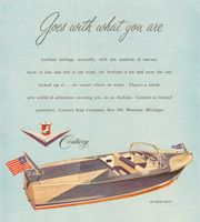 Century Arabian Boat 1956 Ad. Arabian belongs, naturally, with the symbols of success. Sleek of line and fast as the wind, is far and away the one looked up to, no matter where or when. There's a whole new world of adventure awaiting you. Created in limited quantities. Century Boat Company, Box 350, Manistee, Michigan. Boats. Stock Number: 01236.