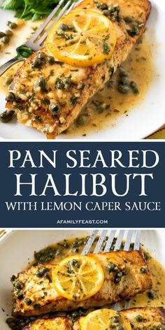 fish recipes Make this restaurant-quality Pan Seared Halibut with Lemon Caper Sauce for a special occasion at home. Tender white fish smothered in a buttery lemon caper sauce! Fish Recipes Pan Seared, Best Fish Recipes, Tilapia Fish Recipes, Salmon Recipes, Favorite Recipes, Healthy Recipes, Best Halibut Recipes, White Fish Recipes, Cuisine