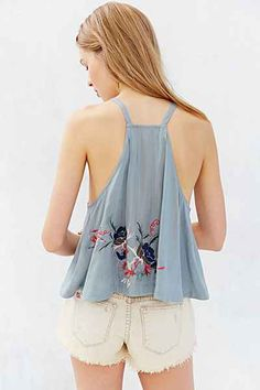 Kimchi Blue Embroidered 360 Tank Top |  Floral embroidered tank top, w/a swingy silhouette,  allover floral embroidery, a halter-style neckline, cut-in armholes & a strappy back. | Medium: Rayon | Design: Urban Outfitters ($79.00)