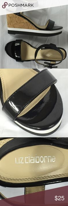 Liz Claiborne Mixed Wedges Size 7 Patent strap across the toes and matte at the ankle Cork , white and black wedge Please see pictures for further details Liz Claiborne Shoes Wedges