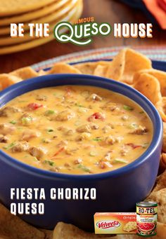 Velveeta and RoTel make any gathering great. Rich melty and BOLD Fiesta Chorizo Queso is a crowd-pleasing dip snack or appetizer thats quick easy and deliciously cheesy. Perfect for game day tailgates watch parties Friendsgiving or any get-together. Kraft Recipes, Dip Recipes, Appetizer Recipes, Mexican Food Recipes, Crockpot Recipes, Dinner Recipes, Appetizers, Cooking Recipes, Mexican Dips