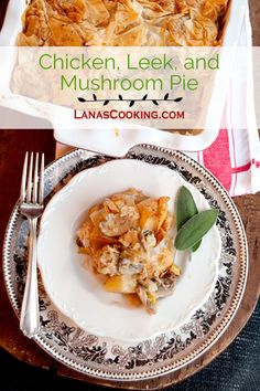 pie with a chicken, leek, mushroom and potato filling. A crispy phyllo ...