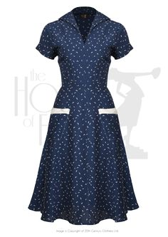 1940s Peggy Sue Day Tea Dress Dress in Starling Print