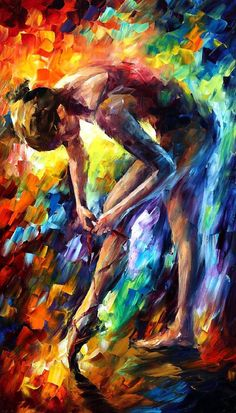 Ballerina 3 — PALETTE KNIFE Figure Oil Painting On Canvas by Leonid Afremov, $239.00