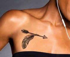 Arrow below the collarbone