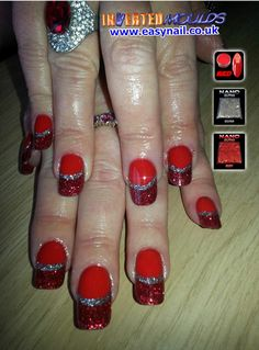 RULE #1  Never talk about Fight Club   RULE #2  Always make sure the nails match the bling!  Inverted Moulds created by Kerry Oconnor Kerry NailTech using our RED Acrylic powder with a Silver / Red Glitters.  IM Nail Training available from www.easynail.co.uk  #Invertedmoulds #nails #nailart #acrylicnails #red #silver #glitter #nailswag #nailporn