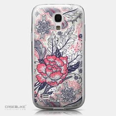 CASEiLIKE Samsung Galaxy S4 mini back cover Vintage Roses and Feathers Beige 2251