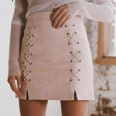 Autumn lace up suede pencil skirt