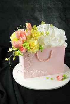bag of flowers cake