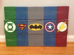 Distressed Superhero Wall Art Hanging - Flash Superman Batman Captain America Green Lantern Hulk Ironman Thor Symbols made from Pallet Wood