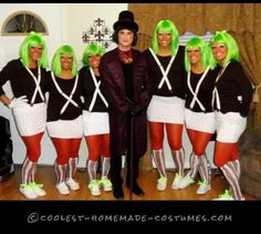 Oompa Loompas and Willy Wonka Homemade Group Costume - Pintagram Online Teacher Halloween Costumes Group, Halloween Costume Contest, Cool Halloween Costumes, Halloween Party, Halloween Ideas, Halloween 2017, Halloween Stuff, Halloween Outfits, Halloween Crafts