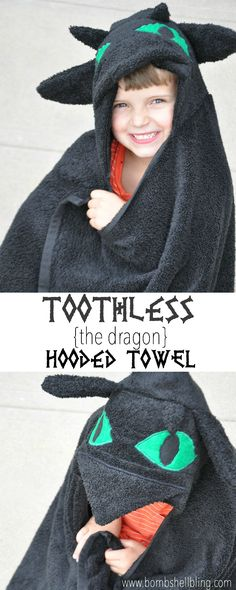 Toothless the Dragon Hooded Towel. Tutorial, diy.