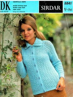 PDF 1960s Sirdar Ladies Lacy Jacket Knitting Pattern, very Skater-Girl, Mod, Go-Go, Groovyx