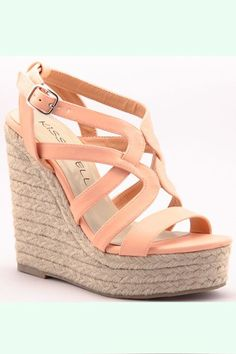 I love wedges.better than pumps. Strappy Wedges, Wedge Sandals, Wedge Shoes, Coral Wedges, Coral Heels, Nude Wedges, Shoes Heels Wedges, Leather Sandals, Cute Shoes