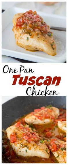 Tuscan Chicken Recipe – a super easy, one pan chicken recipe.  Tons of great flavors, healthy, and delicious!