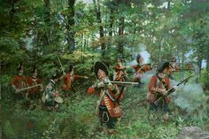 AWI British: Assault of the 77th Regiment at Bushy Run, by Pamela Patrick White.
