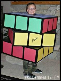 Halloween Cardboard Box Costume -- DIY rubik's cube costume
