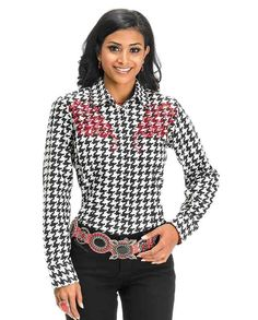 Pink Cattleac White and Black Houndstooth Long Sleeve Embroidered Shirt - Women's Tops - Women's