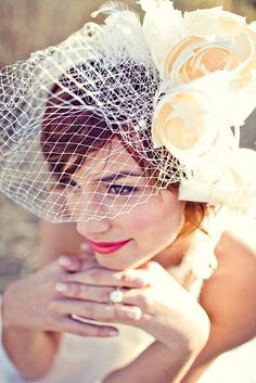 Flowered bird cage veil. Retro and gorgeous!