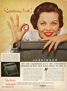 Underwood typewriter advertisement, 1955