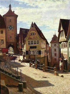 Aleksander Gierymski - Corner of Plönlein in Rothenburg, oil on canvas, 80 x 61 cm, National Museum in Warsaw . Digital Museum, Classic Paintings, Call Art, Urban Landscape, National Museum, Warsaw, Painting Inspiration, Art History, Oil On Canvas