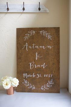 Medium stained custom plywood welcome sign. Can be used for engagement, bridal, shower, and home decor. Woodsy Wedding, Camp Wedding, Wedding In The Woods, Wedding Table, Floral Wedding, Wedding Under Trees, Twinkle Lights Wedding, Chalkboard Welcome Signs, Woodland Wedding Inspiration