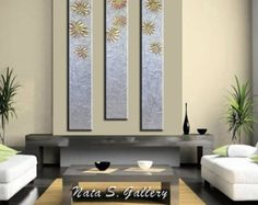 Oro y plata Original metálico Painting.Heavy Resumen Textured.Palette Knife.Modern oro plata Painting.Ready a nave - Nata s.