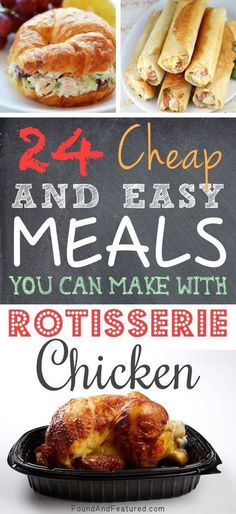 24 Cheap and Easy Meals You Can Make with Rotisserie Chicken Check out cooking magic for some great recipes Frango Chicken, Comida Diy, Great Recipes, Favorite Recipes, Easy Recipes, Healthy Recipes, Light Recipes, Cheap Easy Meals, Cheap Food