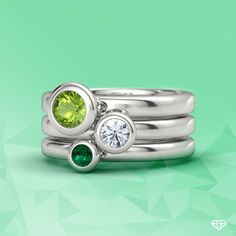 Gemstones By The Yard Stacking Ring Set styled in peridot, diamond, and emerald in white gold.