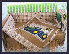 New JOHN DEERE baby crib bedding set in brown by KustomKidsBedding, $275.00